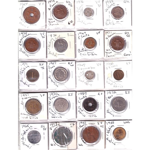 mixed page of 20x  world coins including 2x 1936 British Silver coins and 1x 1949 Australia coin wit