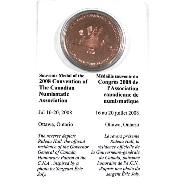 Souvenir Copper Medal of the 2008 Convention of the Canadian Numismatic Association. Medal comes enc