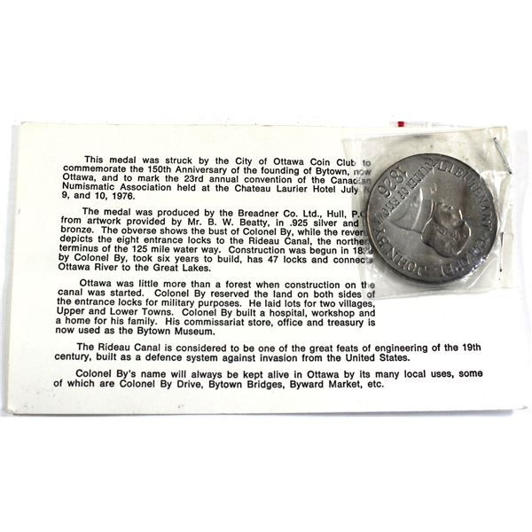 1976 Canadian Numismatic Association 23rd Annual Convention Sterling Silver Medal Commemorating Lieu