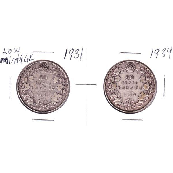 1931 & 1934 Canada 50-cent