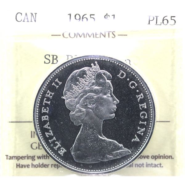 1965 Small Beads pointed 5 Silver Dollar ICCS Certified PL-65 Cameo