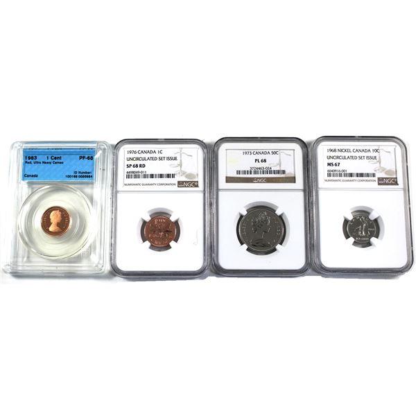Lot of 4x Canadian coins CCCS/NGC Certified: 1983 1-cent CCCS PF-68 UHC, 1976 1-cent NGC SP-68, 1968