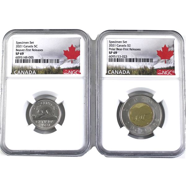 2021 Canada 5-cent & Two Dollar NGC Certified  SP-69 *First Releases*. 2pcs