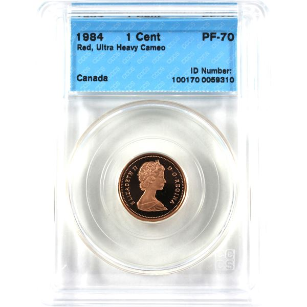 1984 Canada 1-cent CCCS Certified PF-70 Red; Ultra Heavy Cameo