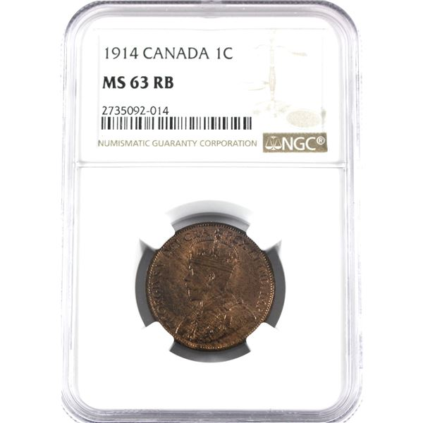 1914 Canada 1-cent NGC Certified MS-63 Red/Brown