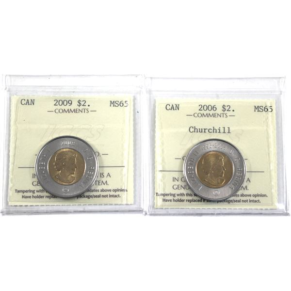 2006 Churchill & 2009 Canada Two Dollar ICCS Certified MS-65. 2pcs