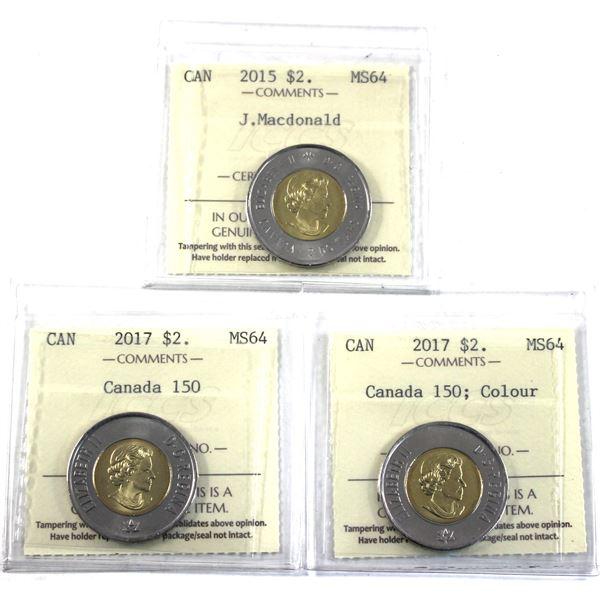 2015 Sir John A Macdonald, 2017 Canada 150 & 2017 Canada 150 Coloured Two Dollar ICCS Certified MS-6