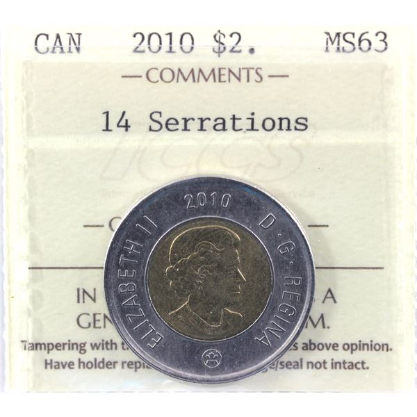 2010 14 Serrations Two Dollar ICCS Certified MS-63