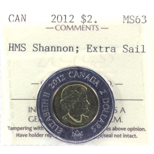 2012 HMS Shannon; Extra Sail Two Dollar ICCS Certified MS-63