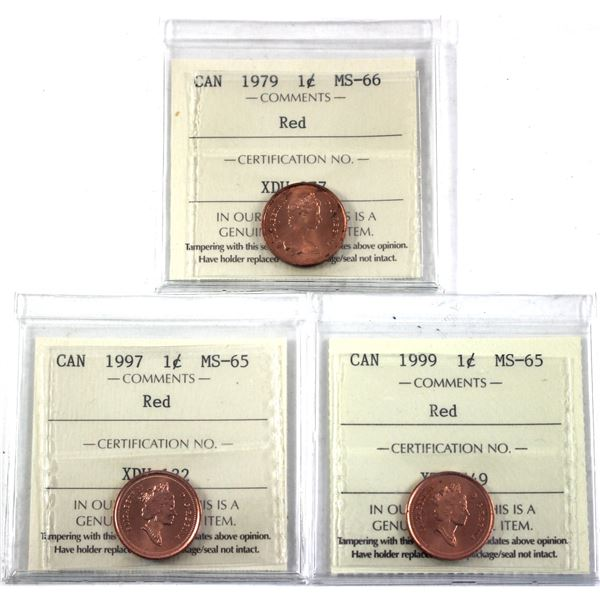 1979, 1997 & 1999 Canada 1-cent ICCS Certified MS-65/66. 3pcs