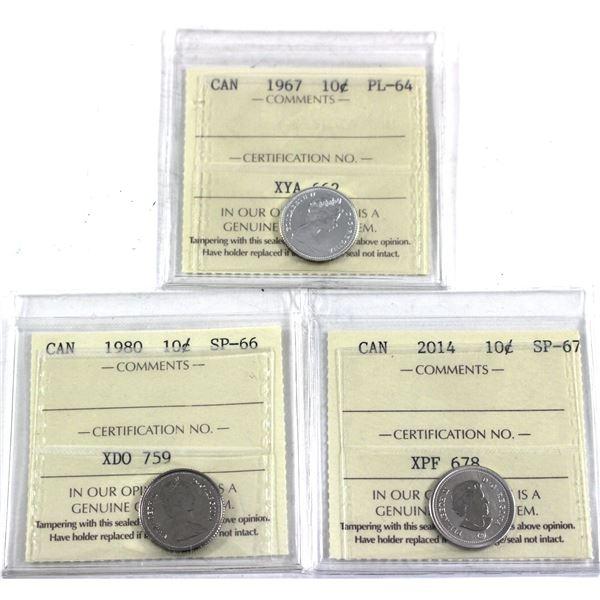 1967-2014 Canada 10-cent ICCS Certified - 1967 PL-64, 1980 SP-66 & 2014 SP-67. 3pcs