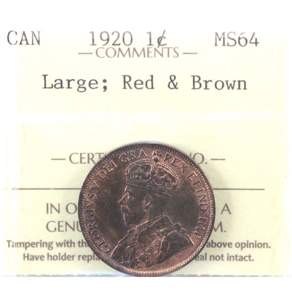 1920 Large 1-cent ICCS Certified MS-64 Red & Brown! A bright Red Reverse with red and brown tones on