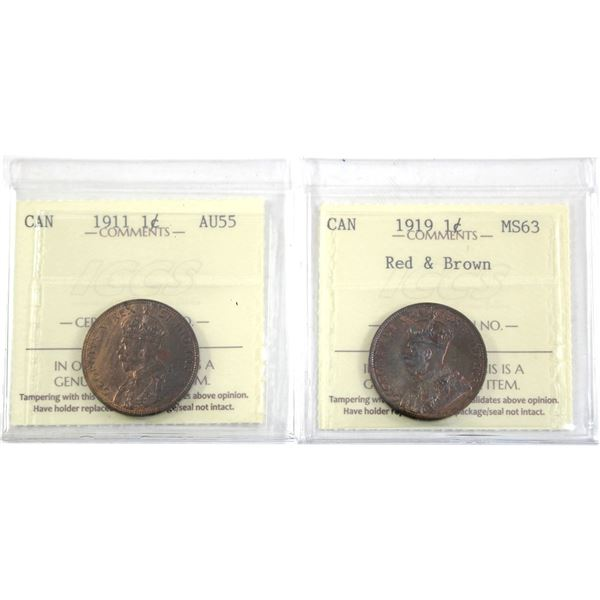 1919 1-cent ICCS Certified MS-63 Red & Brown & 1911 ICCS AU-55. Both coins are  lustrous coin with g