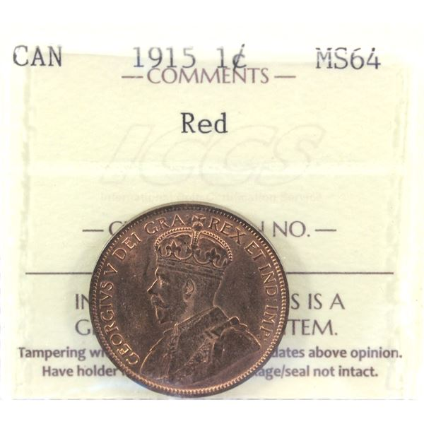 1915 1-cent ICCS Certified MS-64 RED! A nice evenly coloured coin.