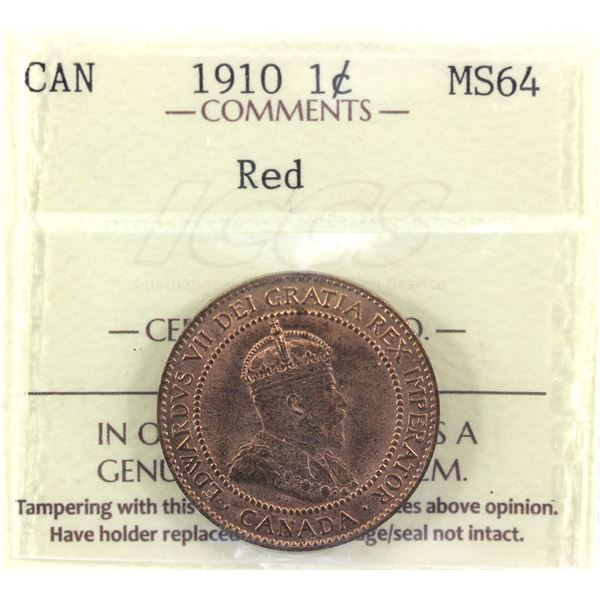 1910 1-cent ICCS Certified MS-64 RED!