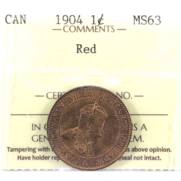 1904 1-cent ICCS Certified MS-63 RED!