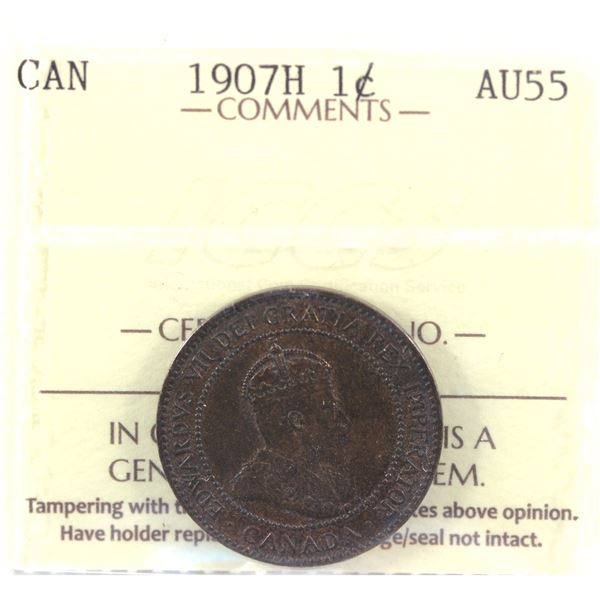 1907-H 1-cent ICCS Certified AU-55. Key Variety! A nice higher grade example of this coin.