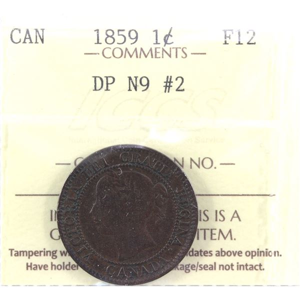 1859 1-Cent  DP N9 #2  ICCS Certified F-12