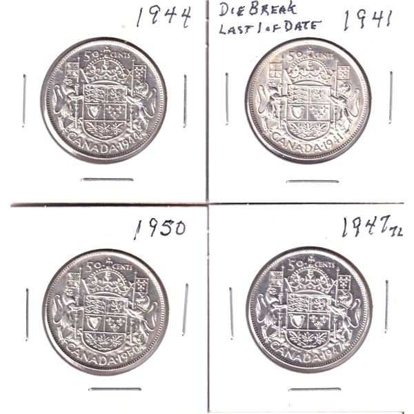 Group Lot 4x George 6th Silver 50-cent. Lot includes: 1941 in AU with various Die Cracks, 1944 in VF