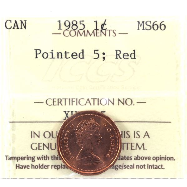 1985 Ptd. 5 1-cent ICCS Certified MS-66 RED! A near Pristine coin with no spots typically found on t