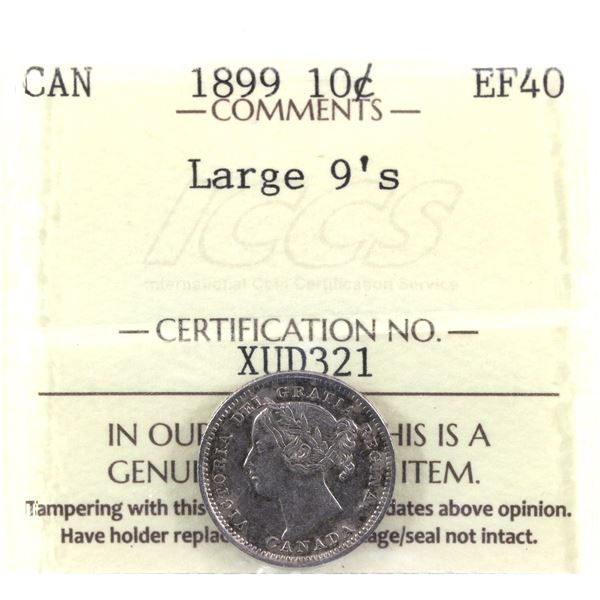 1899 10-cent Large 9's ICCS Certified EF-40. A nice natural coin with soft grey tones!