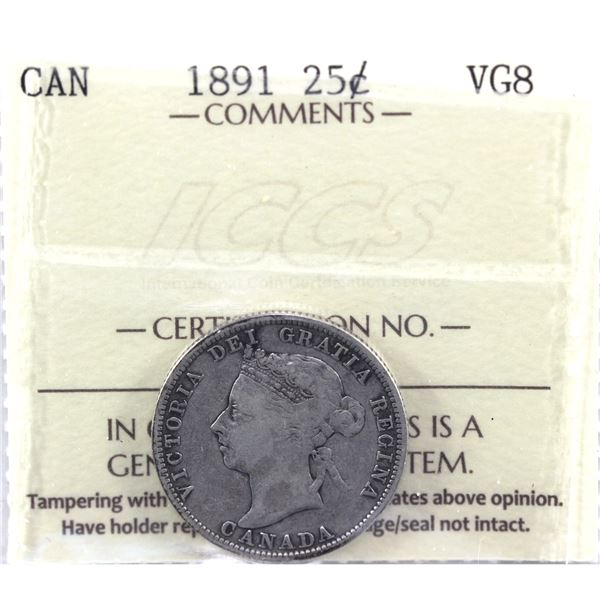 1891 25-cent ICCS Certified VG-8. *Key Date*