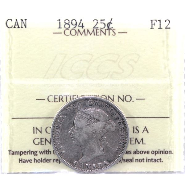 1894 25-cent ICCS Certified F-12. A nice problem free example.