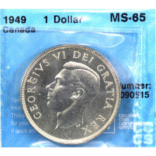 1949 Canada Silver Dollar CCCS Certified MS-65
