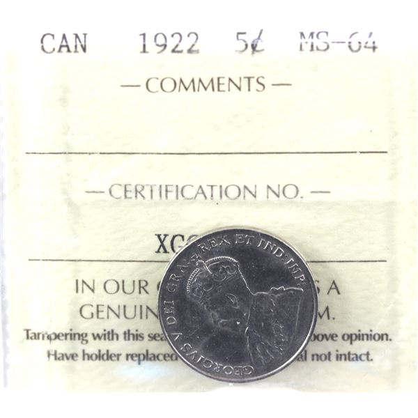 1922 Near Rim 5-cent ICCS Certified MS-64