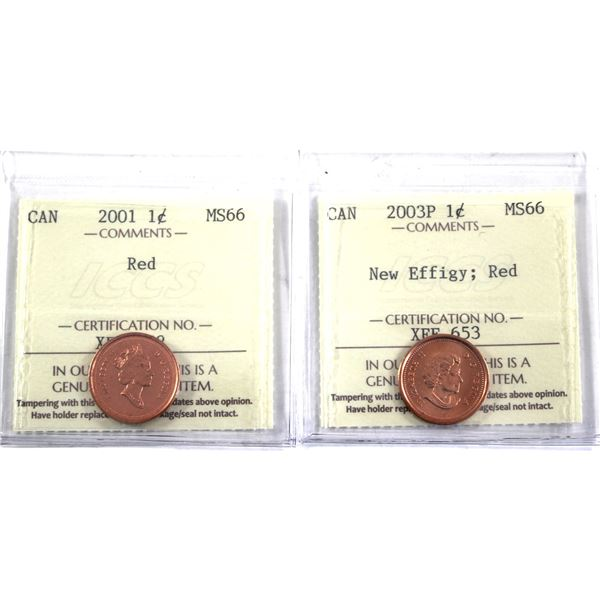2001-2003P New Effigy 1-cent ICCS Certified MS-66 Red. 2pcs