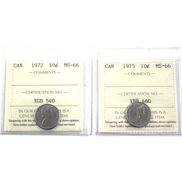1972 & 1975 Canada 10-cent ICCS Certified MS-66. 2pcs