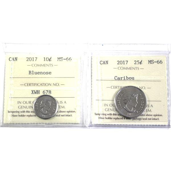 2017 Bluenose 10-cent & 2017 Caribou 25-cent ICCS Certified MS-66. 2pcs