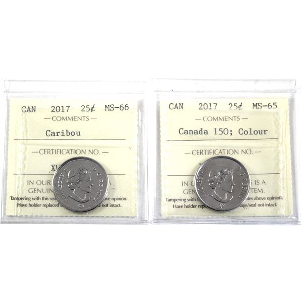 2017 Canada 150; Coloured & 2017 Caribou 25-cent ICCS Certified MS-65/66. 2pcs