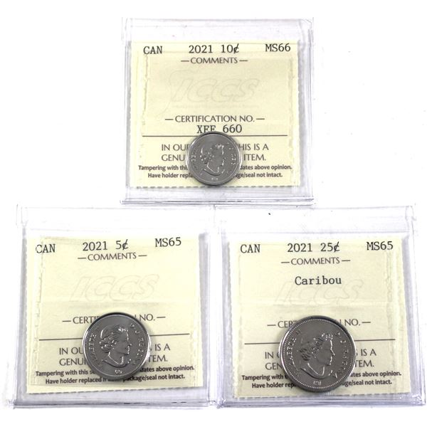 5-cent, 10-cent & 25-cent Caribou all 2021 dated ICCS Certified MS-65/66. 3pcs