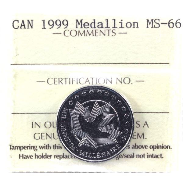 1999 Millennium Medallion ICCS Certified MS-66