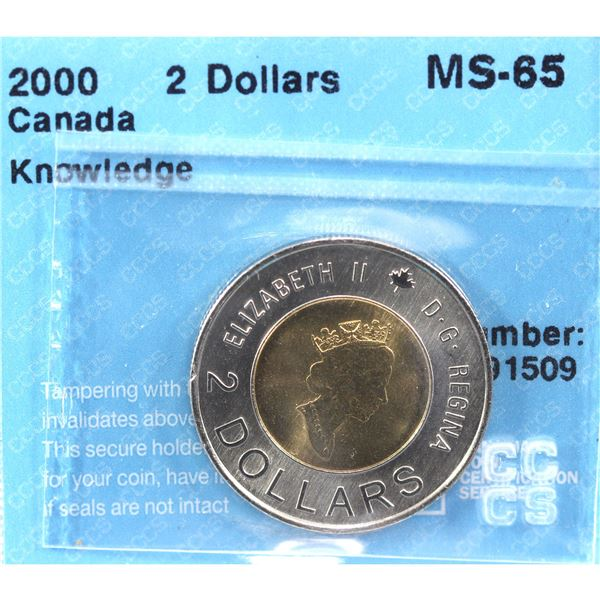 2000 Knowledge Two Dollar CCCS Certified MS-65