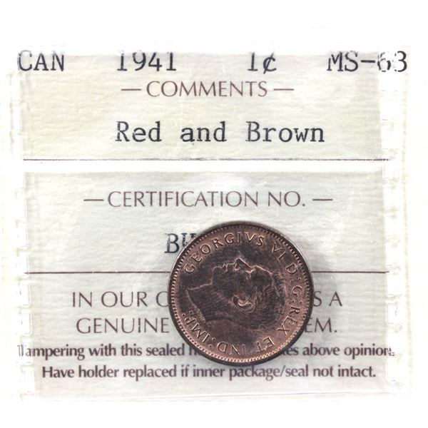 1941 Canada 1-cent ICCS Certified MS-63 Red/Brown.