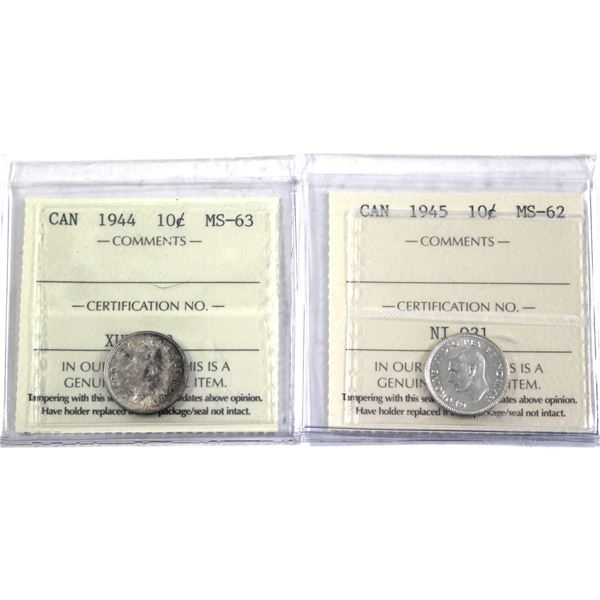 1944 & 1945 Canada 10-cent ICCS Certified MS-63/62. 2pcs
