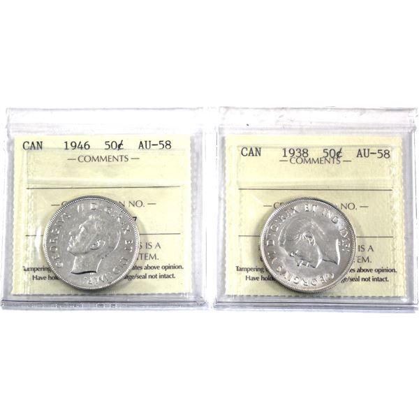 1938 & 1946 Canada 50-cent ICCS Certified AU-58. 2pcs