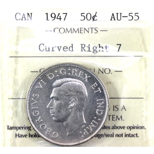 1947 curved right 7 50-cent ICCS Certified AU-55