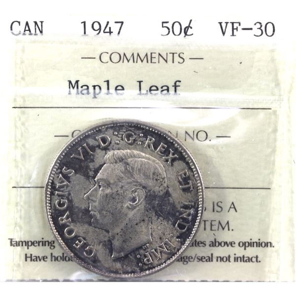 1947 Maple Leaf 50-cent ICCS Certified VF-30