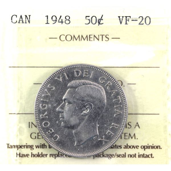1948 Canada 50-cent ICCS Certified VF-20 * KEY DATE*
