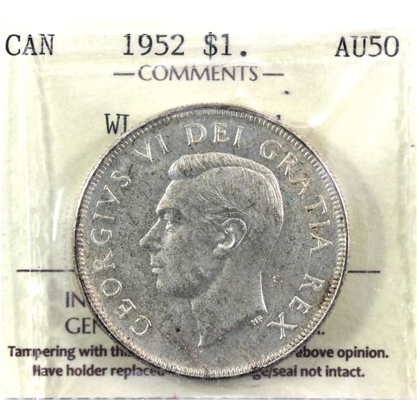 1952 Waterline Silver Dollar ICCS Certified AU-50 (cleaned)