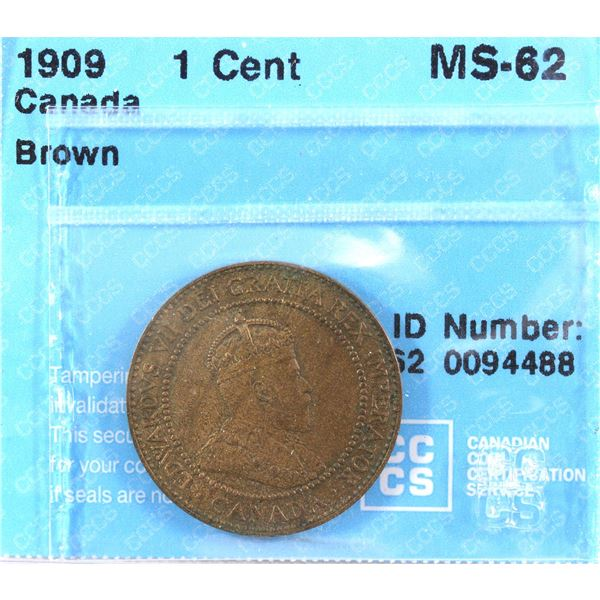 1909 Canada 1-cent CCCS Certified MS-62 Brown