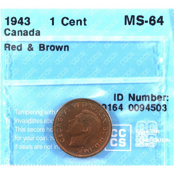 1943 Canada 1-cent CCCS Certified MS-64 Red/Brown