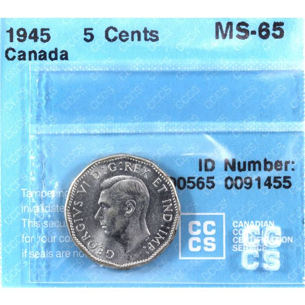 1945 Canada 5-cent CCCS Certified MS-65