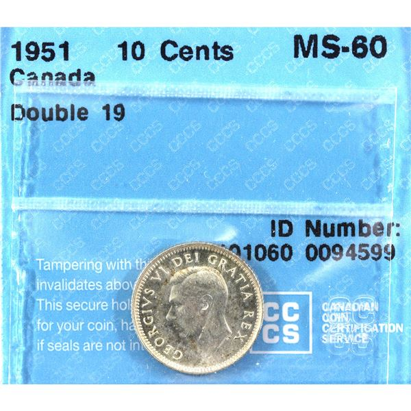 1951 Double 19 10-cent CCCS Certified MS-60