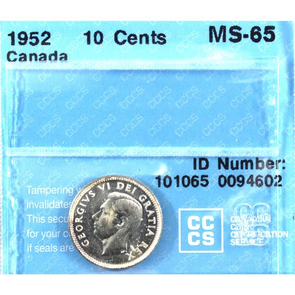 1952 Canada 10-cent CCCS Certified MS-65