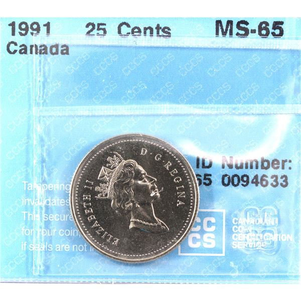 1991 Canada 25-cent CCCS Certified MS-65