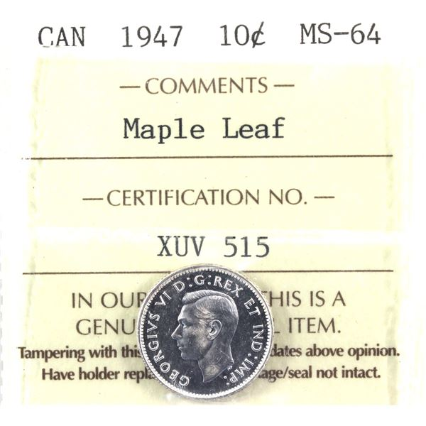 1947 Maple Leaf 10-cent ICCS Certified MS-64